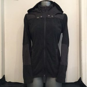 Dark Grey Hooded Fleece Jacket Sweater Eddie Bauer